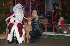 Visiting Santa Claus.