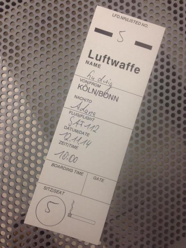 Mein Ticket - endlich! Der zweite Transall-Flug meines Lebens.