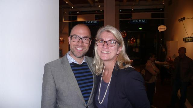Mit Huffington Post- Chefredakteur Sebastian Matthes./With Huffington Post chief editor Sebastian Matthes.