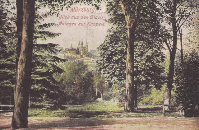 Der Würzburger Ringpark auf einer historischen Postkarte. Archiv: Willi Dürrnagel.