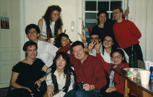 The great bunch of international students back in the 1980s in Albany. Dianne is the woman in the back on the left hand side.